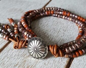 Seed Bead Wrap Bracelet, Leather Wrap Bracelet, Bohemian Jewelry, Boho Wrap Bracelet, Southwestern Jewelry, Rustic Jewelry, Yoga Jewelry