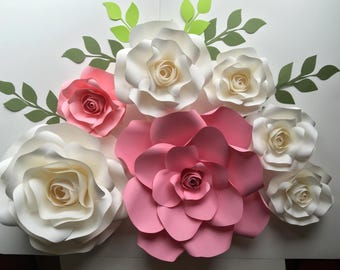 Nursery baby bridal shower birthday paper roses backdrop