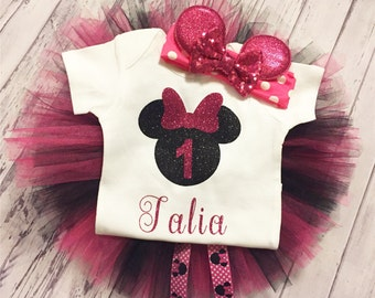 Fuschia and Black Personalized Minnie Mouse 1st Birthday Outfit, Minnie Mouse Birthday Bodysuit, Black and Pink Minnie Mouse Tutu & Headband