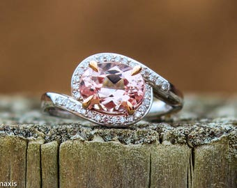 Unique Handmade 18k White Gold 2ct Oval Pink Morganite Ring Set With Total .18ct F/SI Diamonds