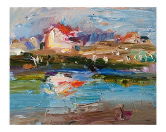 Crystal Morning in the Lagoon, Original Plein Air Oil Painting, Small Abstract Seascape Landscape Paintings Sky Impressionist Art Sea Bright