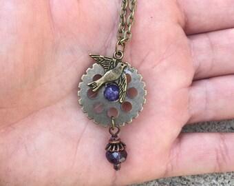 Free bird lepidolite necklace