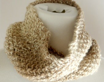 Beige Scarf - Tan loop scarf  - All Natural Undyed Alpaca and Wool Scarf - Tan Circle Scarf - Alpaca Wool Scarf - Alpaca Hand Knitted Cowl