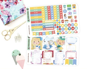 Alice In Wonderland Mini Planner Sticker Kit / Planner Stickers for use with the Erin Condren LifePlanner(TM)