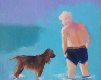 Original small oil painting, coastal, beach painting