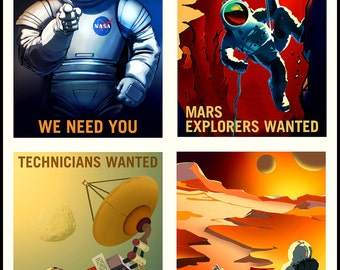MARS NASA  Poster Set Finest Quality Many Sizes Available