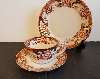 19thC Radford China Trio ~ Samuel Radford Cup, Saucer & Tea Plate ~ Imari Coloured Floral Pattern On A White Background And Edged In Gilt