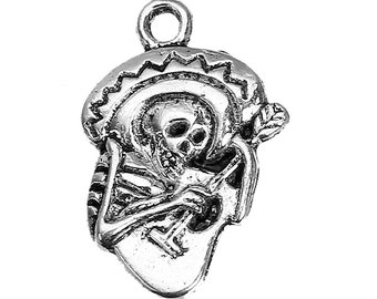 Charms - Fun Skeleton Charm - 12 Silver Charms - Skeleton with Sombrero, Guitar - Cute Charms For Jewelry - Diy Jewelry - CH-S012