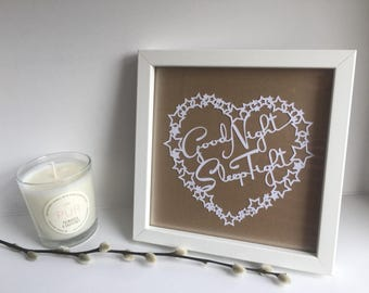Good Night Sleep Tight - framed Papercut