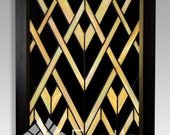 """Art Deco Stained Glass Panel, """"Gatsby"""""""