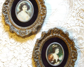 Vintage 1950's Ornate Convex Glass Portraits of Lovely Women * Pair