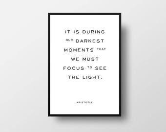 Aristotle, Light Quote, Book, Author, Quote, Minimalist, Book Print, Inspirational Quote, Book Quote, Writer Quote, Inspire, Motivate