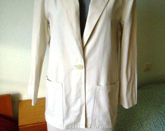 Tailor of summer, jacket and skirt right, cotton, all woman, ecru, Vintage 1980 size M / 38/40
