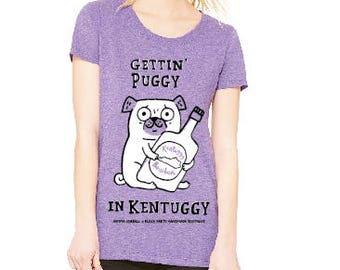 Women's Gettin' Puggy in Kentuggy tee! Illustration by Gemma Correll! White and black ink on purple