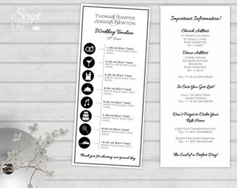 "Infographic Personalized Wedding Timeline | Printable template | Program | Order of Events | Black |Silver Gray | Word Mac or PC | 4"" x 9.2"""