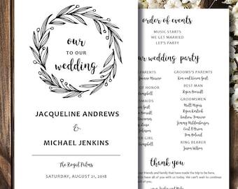 Wedding Program | Wedding Programs with Wreath | Wedding Programs Rustic | Wedding Programs Funny | We Customize, You Print!