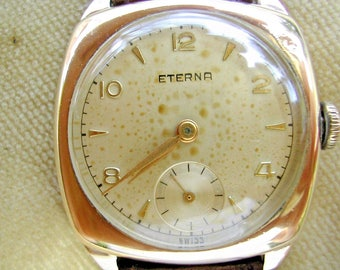 1953 9K SOLID GOLD ETERNA 30MM Cushion Watch. Serviced, Completely Original Condition.