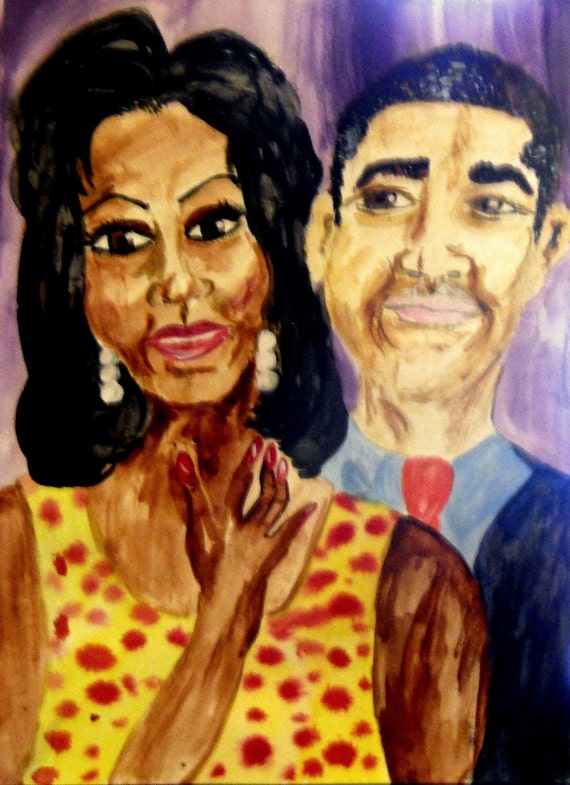 "Painting, ""The Audacity of Love,"" India Ink on 11 x 15"" Paper, Black History Month Special - by Hoosier Artist, Stacey Torres"