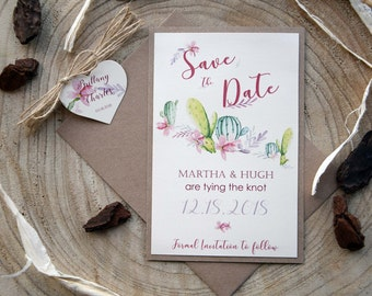 Cactus Wedding Save The Dates, Succulents Save the Date Wedding Cards, Unique Save The Dates, Custom Save The Dates, Garden Save the Sate
