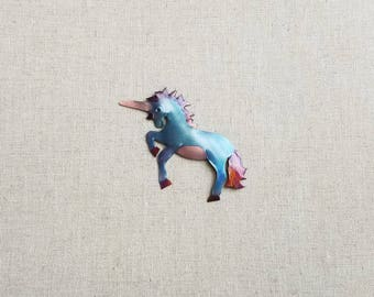 Flame painted copper Unicorn, pin