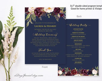"""5x7"""" Double Sided Navy Wedding Program Template, Printable Burgundy Floral Gold Wedding Ceremony, Fan Style, DIY PDF Instant Download #109"""