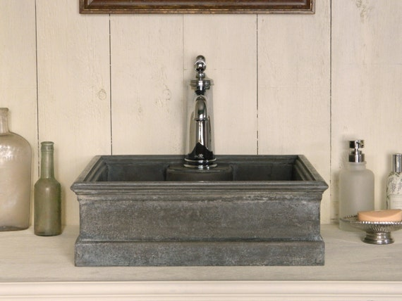 Vessel sink antique zinc style sink by atmosphyre on etsy for Are vessel sinks out of style