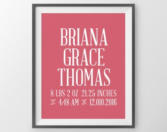 Baby Girl Personalized Baby Birth Stats Baby Photo Prop Girl Nursery Decor Gift Shower Gift Personal Baby Gifts Newborn Girl Birth Stats