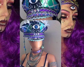 Third Eye Galactic Gypsy Captain's Hat: festival hat, military hat, bohemian, coachella, rave, edc, cap, costume, burning man marching band