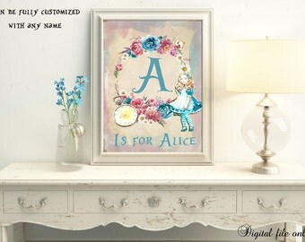 Digital Custom Alice in Wonderland A Is for... Personalized,Nursery Print,Bedroom,Kids,Gift,Baby