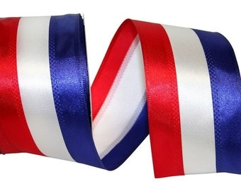 "2.5"" x 10 yds AMERICANA STRIPE Wired Edge Ribbon/Wreath Supplies/Patriotic Ribbon/Fourth of July Ribbon/"