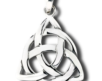 Large silver triquetra necklace, celtic trinity neckace