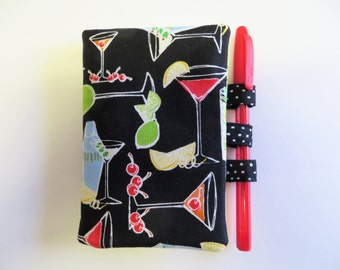 Notepad - Notebook Cover - Memo Pad Cover - Cocktails Theme Fabric - Purse Notepad Holder