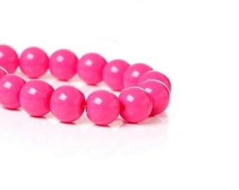 100 pearls in glass Fuchsia 8 mm