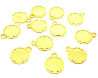 20 media pendants double-sided tray 12mm gold Golden cabochon