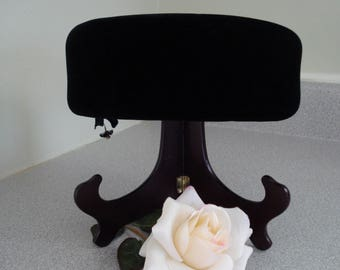 VINTAGE Black VELVET Pill Box style HAT. Made to order evening hat. Formal party Velvet hat, with crystal flower.