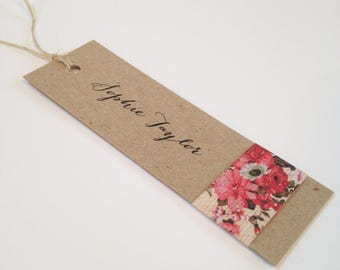Rustic Rose Name Tag, Wedding Place Card, Place Card, Place Card Tag
