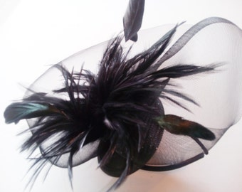 total black crinoline fascinator, teardrop base of sinamay hairband hackle feathers headpiece very elegant easy to wear for all occassions