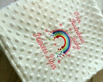 Rainbow Baby Blanket Personalised Embroidered