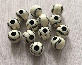Baseball 10mm Black Thread Acrylic