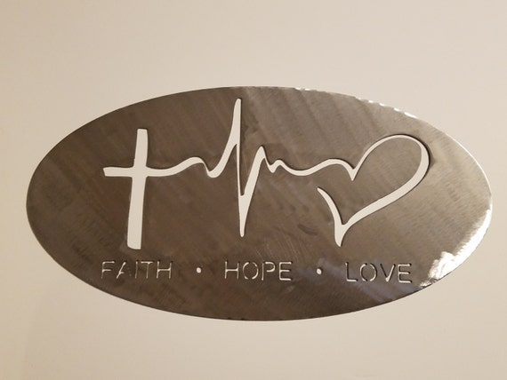 CNC Plasma Cut Faith Hope Love Oval Metal Sign Powder Coated or Raw Steel
