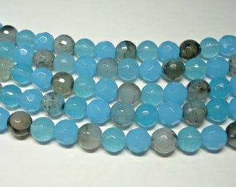 10 mm Round Sky Blue Agate Beads, Faceted Agate Beads 10 mm, Full Strand