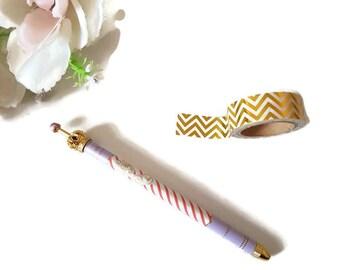Purple gold crown pen, ballpoint pen, lilac and red stripe pen