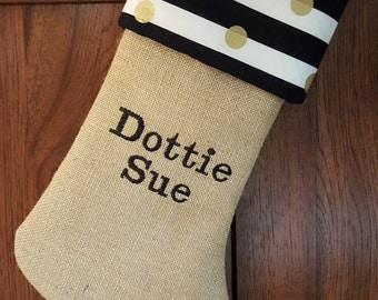 Burlap Black and Gold  Christmas  Stocking, Polka Dots Glitter stockings personalized