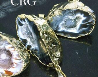 Gold Plated Oco Geode Half Pendant (GD6BT)