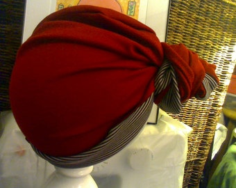 Sewed Top Knot Bun Red Turban with Stripes