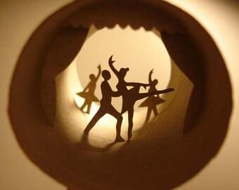 Roll Ballet - Cut out paper sculpture inside of cardbord roll