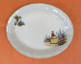 English 1930's Grindley Cream Petal serving dish, crinoline lady design