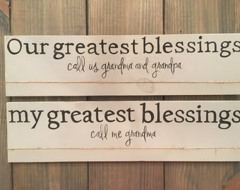 PERSONALIZED GRANDPARENT wood photo holder sign our/my greatest blessings call us/me Grandma Nana Papa