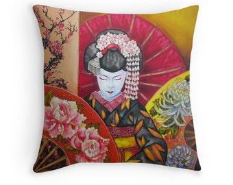 Geisha - Cushion Cover  - Printed from original silk painting
