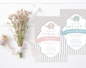 Elephant Themed Baby Shower Invitations with Envelopes